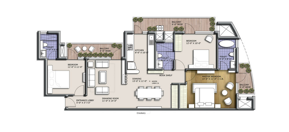 3BHK+3T (1625 sq ft)