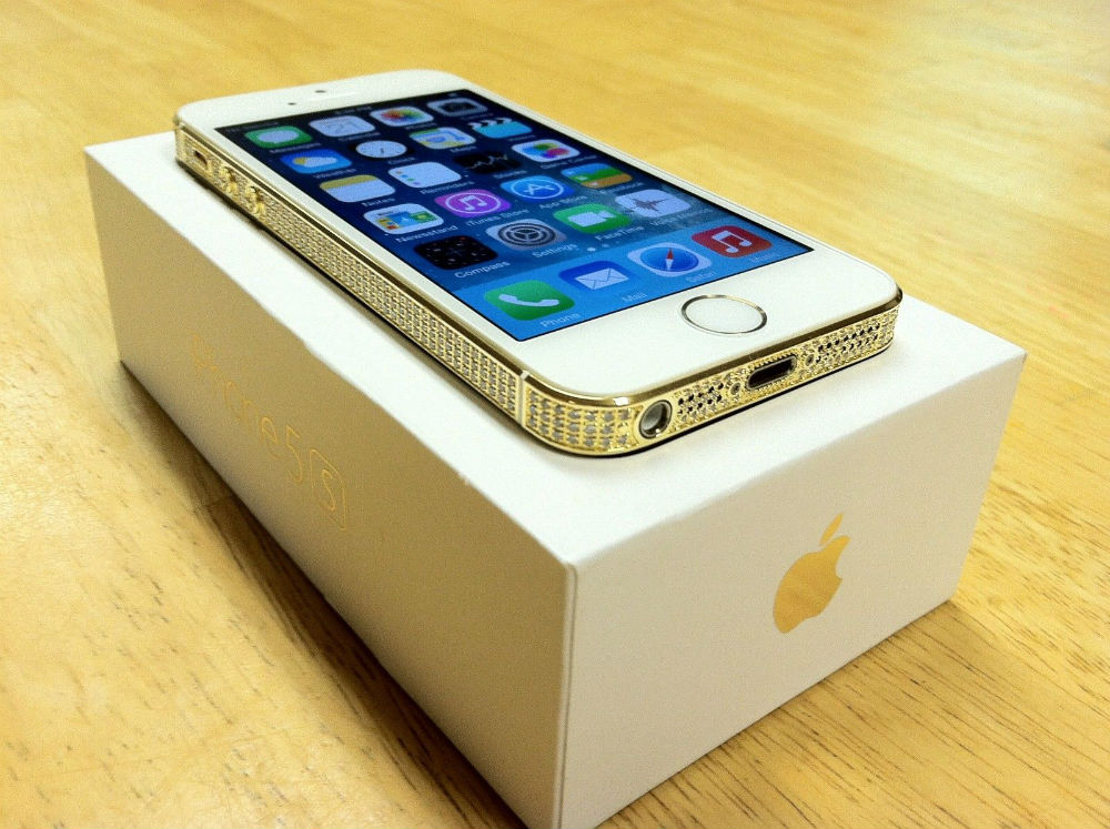 Apple iPhone 5S - 24K GOLD  WHITE SWAROVSKI - FACTORY UNLOCKED - 16GB
